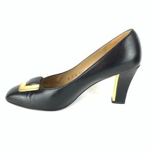 St John Heels with Gold Buckle and Accent on Heel